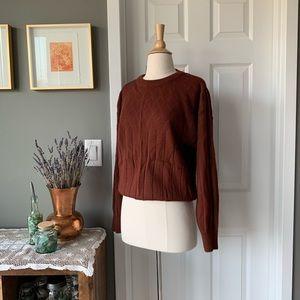 Vintage pointelle knit burnt sienna sweater